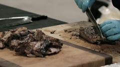 Beef Ribs carved and served by chef Stock Footage