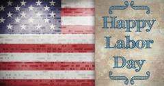Composite image of poster of happy labor day text Stock Illustration