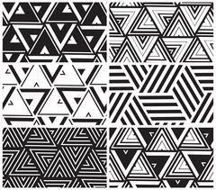 Set of universal vector geometric seamless pattern Stock Illustration