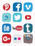 Collection of popular social media logos Piirros