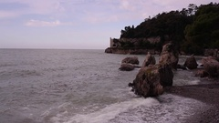 View of trieste coast with Miramare castle in the background Stock Footage