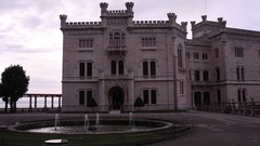 View of the Miramare castle in Trieste Stock Footage