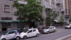 View of Milan street from tram Stock Footage