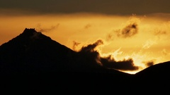 Sunrise over Kluchevskaya group of volcanoes stock footage video Stock Footage