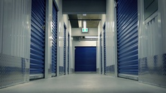 Moving Down Corridor In Storage Facility Stock Footage