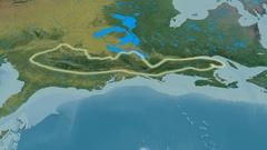 Revolution around Appalachian mountain range - glowed. Topographic map Stock Footage