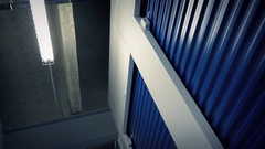 Moving Through Storage Area Low Angle Stock Footage