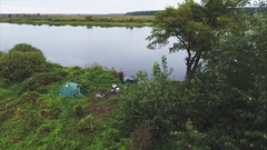 Aerial shoot of fisherman on the camp Stock Footage