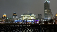 House of Music in Moscow in the evening, winter, snow Stock Footage