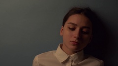 Student girl with white collar found something interesting Stock Footage