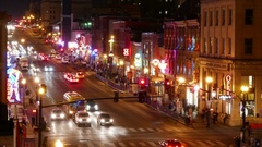Broadway Nashville Tennessee Nightlife Time Lapse Zoom Out Stock Footage