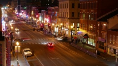 Broadway Nashville Tennessee Nightlife Time Lapse Stock Footage