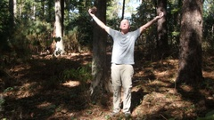 Man communing with nature Stock Footage