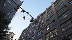 Sneakers hanging on a power line in DUMBO, Brooklyn - NYC Stock Footage