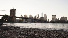 New York City's Brooklyn Bridge on a cloud day - establishing shot Stock Footage