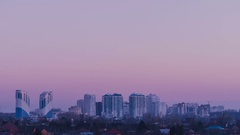 Krasnodar Central Business District skyline sunset time lapse Stock Footage