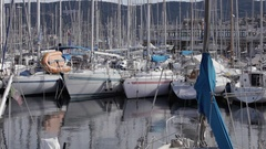Sailboats in the Trieste pier Stock Footage