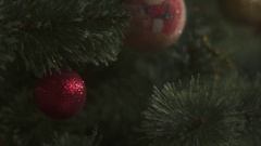 Christmas lights hanging in a xmas tree Stock Footage