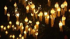 Lanna lanterns at night, Thailand lantern festival Stock Footage