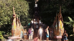 A stair way to Doi Suthep Temple in Bangkok, Thailand. time lapse Stock Footage