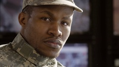 Portrait of a military man Stock Footage