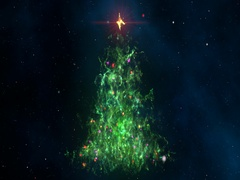 Nebula Christmas Fir Tree Background Seamless Loop 4K Resolution. Stock Footage