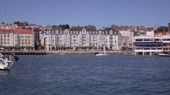 View of Santander from ferry boat Stock Footage
