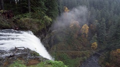 Aerial view from top of a waterfall Stock Footage