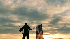 Soldier lift up American Flag and automatic rifle .Slow Motion.  Stock Footage