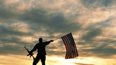 Silhouette of Soldier with automatic rifle wave American Flag .Slow Motion.  Stock Footage