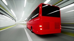 Red tourist bus in a tunnel. fast driving. tourism concept. 3d animation Stock Footage