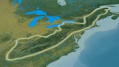 Zoom into Appalachian mountain range - glowed. Topographic map Stock Footage