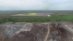 Waste steel plant and water reservoir with sewage Stock Footage