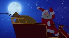 Santa Claus flying Stock Footage