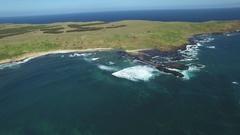 Forward flight towards the coastline near The Nobbies, Phillip Island Stock Footage