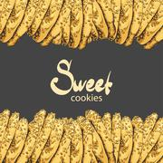 Aromatic oatmeal cookies on a black background Stock Illustration