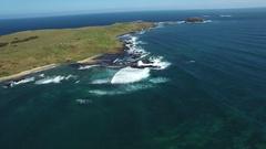 Horizontal pan across Phillip Island coastline near The Nobbies Stock Footage