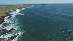Backward flight over crusing waves along The Nobbies Coastline Stock Footage