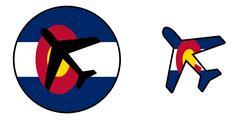 Nation flag - Airplane isolated - Colorado Stock Illustration