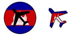 Nation flag - Airplane isolated - Cambodia Stock Illustration