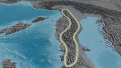 Revolution around Appennini mountain range - glowed. Elevation map Stock Footage