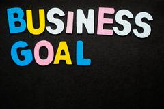 Business Goal Colorful wooden letters forming the phrase Stock Photos