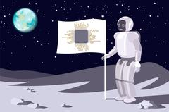 Robot on the moon. Banner with a chip. Blue earth in sky.Vector Stock Illustration