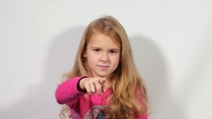 Little Cute Girl Gestures With Hand - Come Here. Kid Shows: Come Here Stock Footage