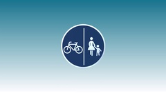 Traffic Sign, Split Pedestrian and Bicycle path Stock Footage
