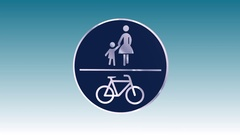 Traffic Sign, Pedestrian and Bicycle Path Stock Footage
