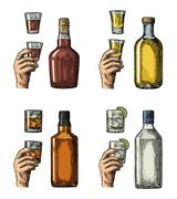 Set alcohol drinks with bottle, glass and hand holding gin, whiskey, tequila. Stock Illustration