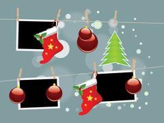 Christmas Stockings on Rope Stock Illustration