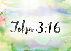 John 3:16 Colorful Watercolor and Ink Word Art Stock Illustration