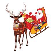 Santa in Sleigh Stock Illustration